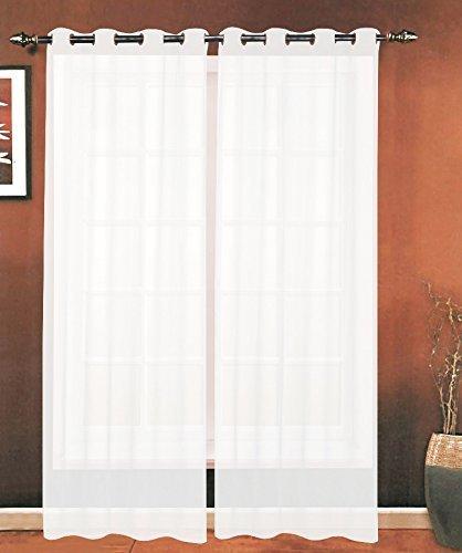 Elegant Comfort Luxury 2-Piece Grommet Sheer Panel/Curtain - Window Curtains 55-inch Width X 84-inch Length - White
