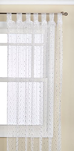 1888 Mills Groovy 50-inch-by-84-inch Single Tab-Top Panel Sheer with Sequins, White