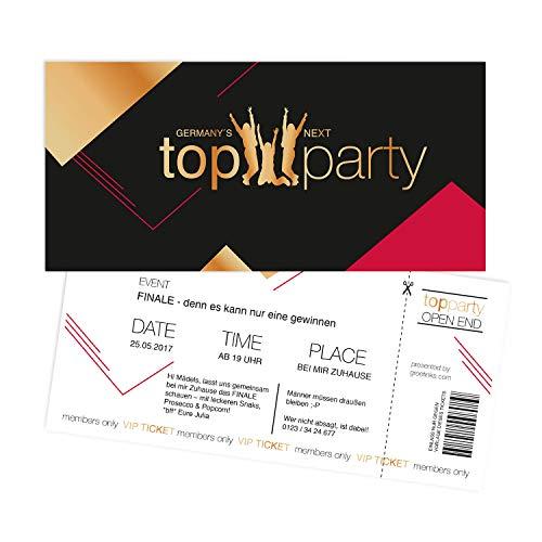 Einladungskarten zum Geburtstag - Germanys Next Top Party | 15 Stück | Inkl. Druck Ihrer persönlichen Texte | Kindergeburtstag | Individuelle Einladungen | Einladungskarte Mädchen | Karte Einladung