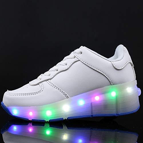 JIAOJIAO Blinkende Kinderschuhe Kleinkind Turnschuhe Star Leuchtend Schuhe Mode Baby Schuhe mit Leuchtsohle Kinder Beiläufig Bunt Lauflernschuhe PU-Leder LED Licht,Weiß,30