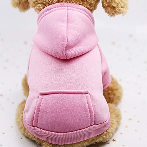 UWOOD Hond Hoodies Pet Kleding Voor Honden Jas Jassen Katoen Hond Kleding Puppy Huisdier Overalls Voor Honden Kostuum Kattenkleding Huisdieren Outfits (M, Roze)