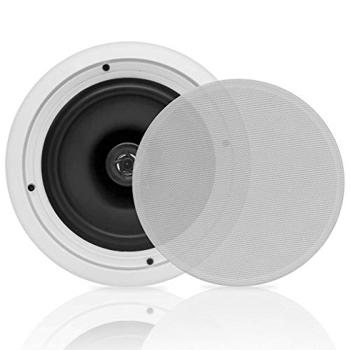 8'' 2-Way Midbass Woofer Speakers - Pair In-Wall/In-Ceiling Woofer Speaker System 1'' High-Temperature Voice Coil Flush Mount Design w/50Hz - 20kHz Frequency Response 250 Watts Peak - Pyle PDIC81RD