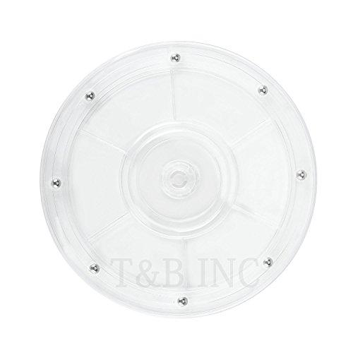 T&B Lazy Susan - Organizador de mesa giratoria de acrílico blanco para especias, mesas de tartas, cocina, despensa