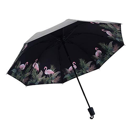 xinrongqu Kreative Flamingo Schwarz Kunststoff Regenschirm Anti-Uv Regenschirm Weibliche Sonnenschutz DREI Falten Regenschirm Benutzerdefinierte Werbung Regenschirm Flamingo 58 cm * 8 Karat