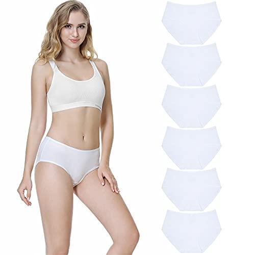 TUUHAW Unterhosen Damen Unterwäsche 6er Pack Baumwolle Slips Mittel Taille Panties Weiß L