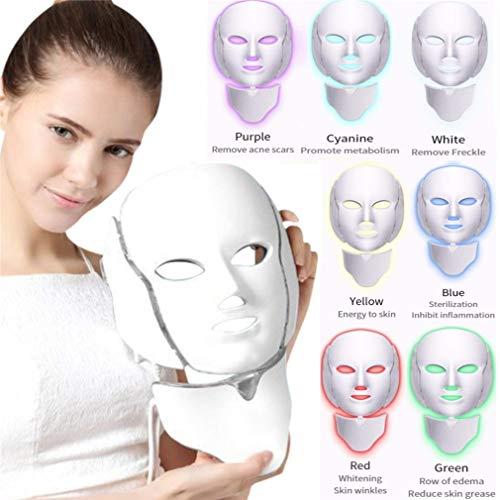 Fay Beauty Led-koplampmasker, beauty-instrument, 7 kleuren, led-therapiesysteem, gezichtsverzorging, gezichtsverzorging en hals, voor verjonging van de huid