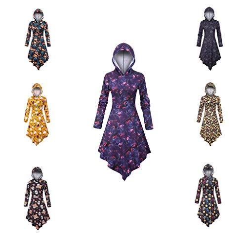 TUDUZ-Damen Langarm Halloween Print Kleid Kapuze Asymmetrisches Kleider Hooded Freizeitkleider Festliche Kostüme M, L, XL, XXL und XXXL
