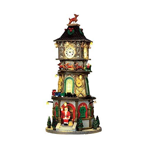 Lemax - Christmas Clock Tower - Beleuchteter & Animierter Weihnachts-Uhrenturm mit Sound - 4,5V Adapter - Weihnachtsdorf
