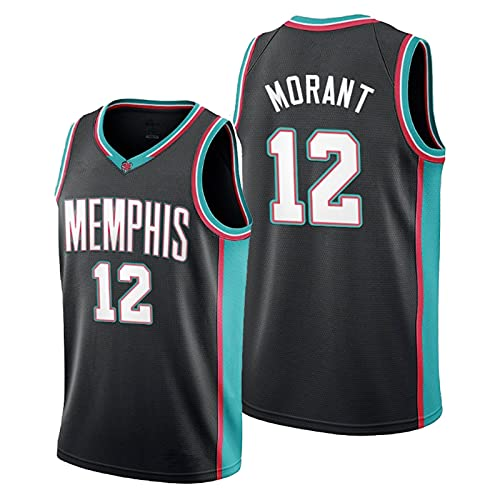 TINKOU Camiseta Transpirable de la NBA, Tela cómoda de Jersey Retro Grizzlies # 12, Camiseta sin Mangas para Hombre, Blue-XL