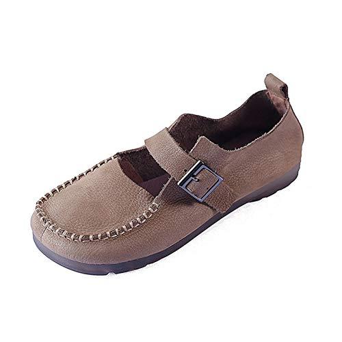 Zapatos Mary Jane para Mujer, Zapatos de Vestir de Boca Baja con Punta Cuadrada Retro, Zapatos de Corte cómodos con Hebilla y Correa de Cuero PU de Primavera