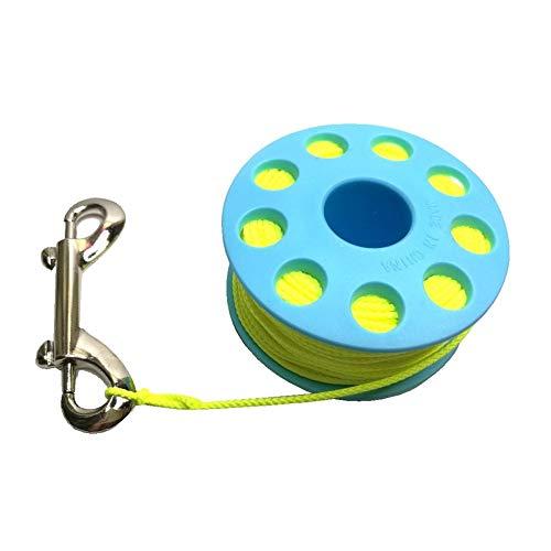 fried Zubehör 30 m Taucher-Spule, mit doppelseitigem Messing-Schnappverschluss, Fingerspule, Wreck Führungsschnur, Spule aus Gummi (Farbe: Blau)