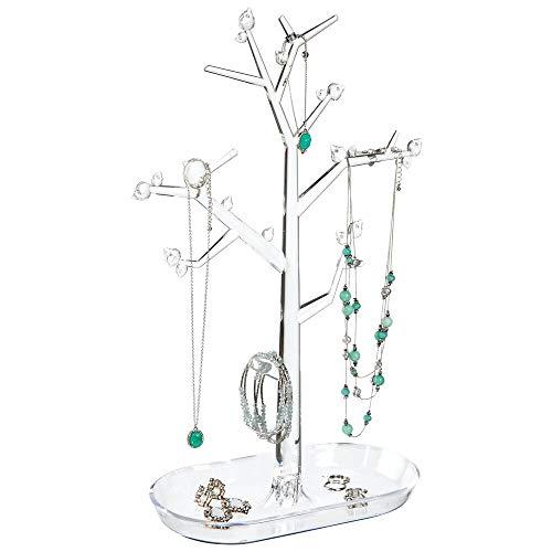 mDesign Árbol Organizador de Joyas para Colgar Collares, Pendientes, Anillos y más – Joyeros Originales con Ganchos y Estante – Colgador de Collares de pie en plástico – Transparente