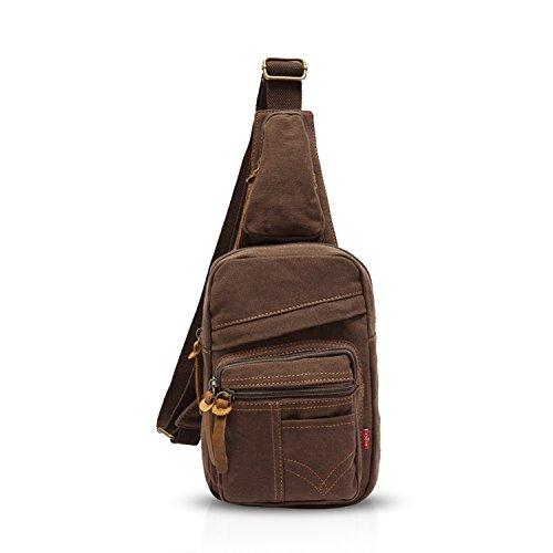 FANDARE Sling Bag Bolso Bandolera Gimnasio Bolsas de Deporte Messenger Bag Bolso Senderismo Deportes Hombre Las Mujeres Mochila Lona Marrón