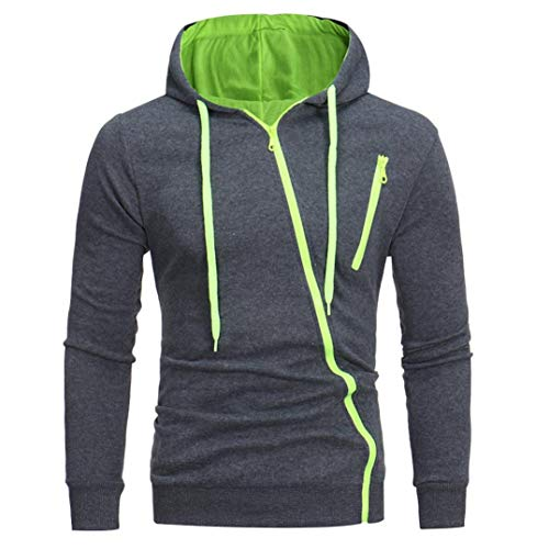 IMJONO Herren Sweatshirt Männer Langarm Hoodie Kapuzen Tops Jacke Mantel Outwear(EU-50/CN-2XL,Grün)