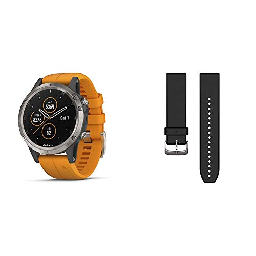 Garmin fēnix 5 Plus, Premium Multisport GPS Smartwatch, Titanium with Orange Band & 010-12740-00 Quickfit 22 Watch Band - Black Silicone - Accessory Band for Fenix 5 Plus/Fenix 5