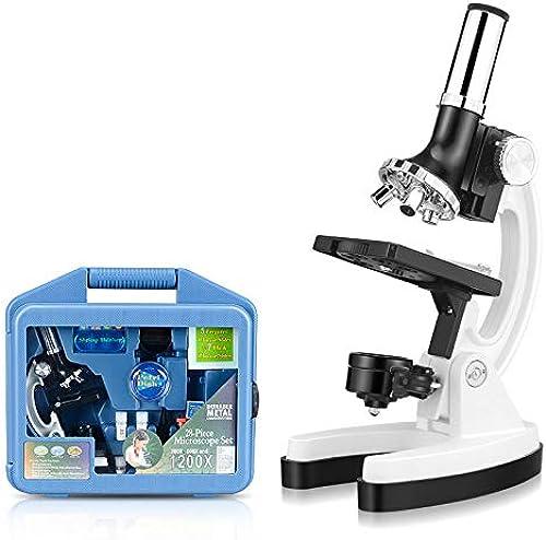 Microscopes pour étudiants et Enfants 300X-600X-1200X avec étui de Prougeection Bras et Base en métal pour Les Cadeaux