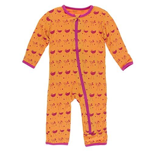 KicKee Pants Print Coverall with Zipper (Apricot Chickens - 9-12 Months)