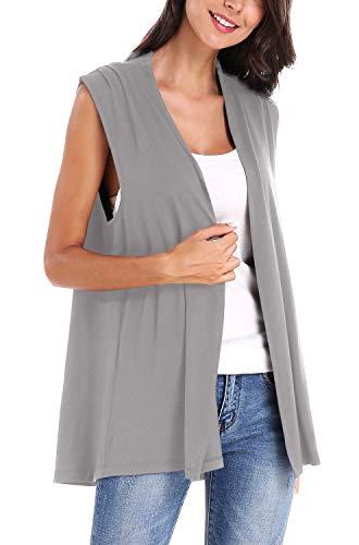 Women's Sleeveless Open Front Cardigan Vest Coat (S, Light Grey)