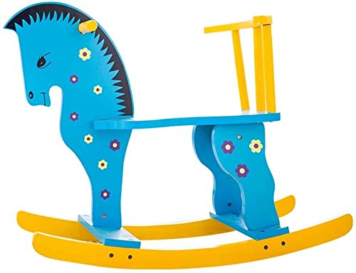 Rocking horse Trojan Kinderspielzeug Baby Schaukelstuhl Massivholz Baby 1-3 Jahre alt Geschenk Kutsche Schaukelwiegen (Farbe: Blau)