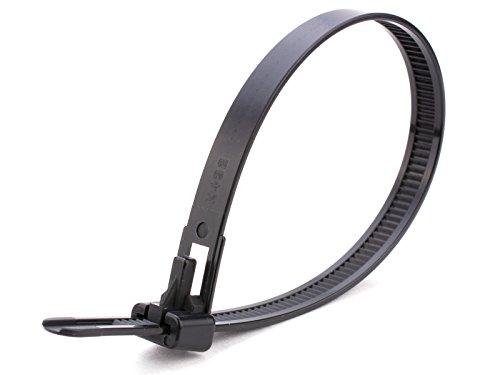 Gocableties Wiederverwendbar Kabelbinder aus strapazierfähigem Nylon, Schwarz, lösbar, 100 Stück, hochwertig, robust, 300 x 7,8 mm