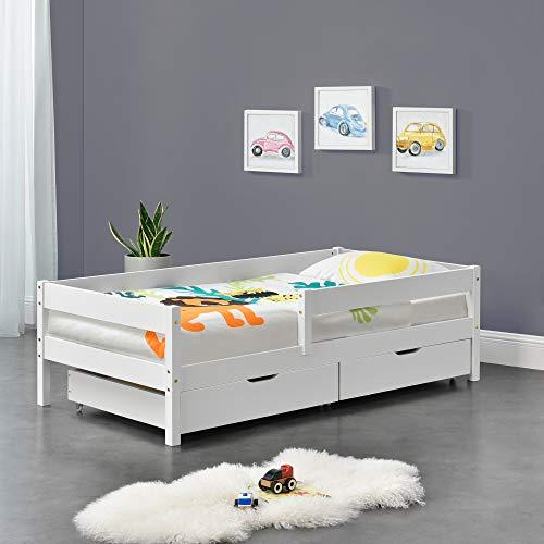 [en.casa] Kinderbett mit Rausfallschutz und Schubladen 90x200 cm Jugendbett mit Schutzgitter bis 100 kg mit Lattenrost Kiefernholz Holz Weiß