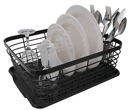 TQVAI Kitchen Dish Drainer Drying Rack with Drainboard Set and Full-Mesh Silverware Utensils Holder, Black