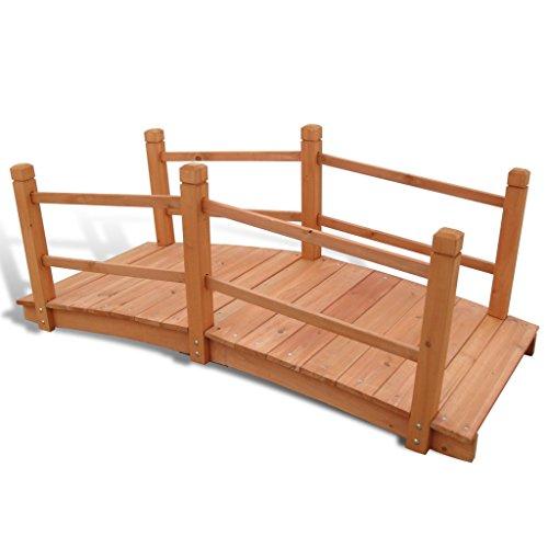 Anself Gartenbrücke Teichbrücke Gartenteichbrücke aus Holz 140 x 60 x 56 cm