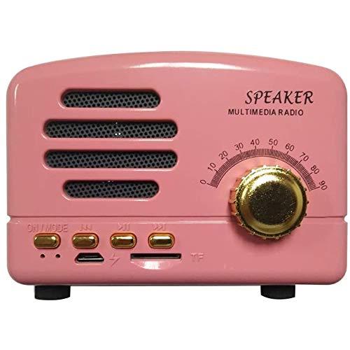Angelay-Tian Bluetooth 4.0 altavoz Radio de altavoz FM Radio, claro excelente sonido, tamaño compacto pequeño, estilo de estilo clásico de moda retro de moda USB for el dormitorio de la casa al aire l