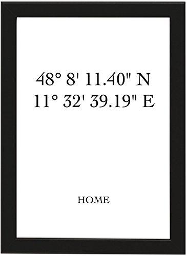 Personalisiertes Poster HOME mit individuellen Koordinaten DIN A4, gerahmt mit schwarzem Bilderrahmen, GPS-Koordinaten, Geschenk zum Umzug, Geschenk zum Einzug, Poster mit Rahmen (DIN A4 gerahmt)