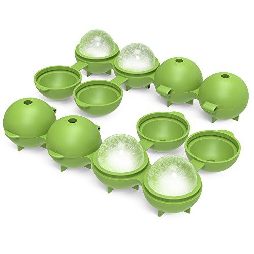 Nuovoware ijsblokjesvorm, 2 stuks, van silicone, zacht, voedselveilig, fabrikant van whisky-ballen, brede rand, 4,3 cm, voor koude dranken, BPA-vrij - Groen P
