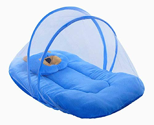 Scuzo Soft and Comfortable New Born Baby Bedding Set with Protective Mosquito Net and Pillow, Blue