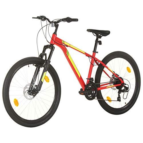 Festnight Mountainbike 27,5 Zoll Fahrrad für Jungen Herren Mädchen Damen Herrenfahrrad Jugendfahrrad Scheibenbremse, Shimano 21 Gang-Schaltung- 38 cm Rahmen Rot