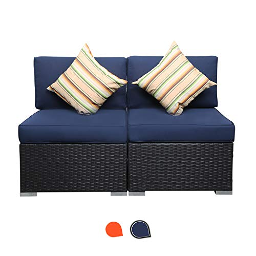 EXCITED WORK 2 Piece Outdoor PE Wicker Rattan Patio Couch with Washable Cushion and 2 Pillow,Sectional Furniture Conversation Set(Dark Blue)