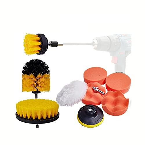 LSANS 17 unids-1pcs Brocha de Broca Cepillo de Detalle para cepillos de llanta de Rueda de neumático de Coche para Destornillador Limpieza Pading Pad Herramientas de Limpieza de automóviles