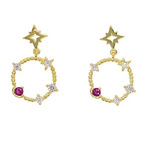Yhhzw Pendientes elegantes con forma de estrella de oro, con forma de círculo, con cuentas de cristal, brillantes y brillantes, para niñas y fiestas