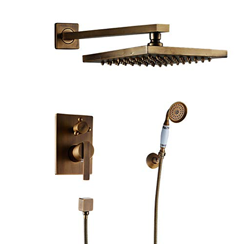 RWJFH Sistema de Ducha Grifo de Ducha de baño Oculto Mezclador de Montaje en Pared Grifo Mezclador de Ducha de baño Latón Antique 8 Rainfall con Juego de Ducha de Mano, Latón Antiguo B