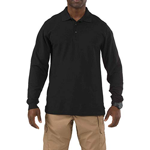 5.11 Herren Langarm Utility, Herren, Henley Shirt, Men's Utility Long Sleeve Polo Shirt, schwarz, XX-Large