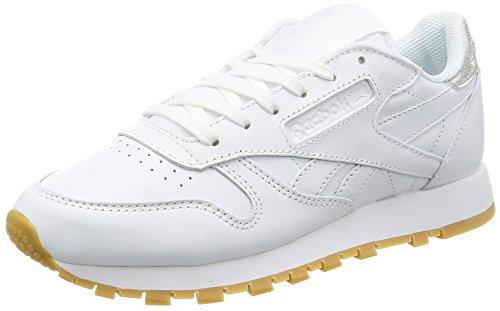 Reebok Classic Leather Met Diamond, Zapatillas Mujer, Blanco (White/Gum), 36 EU
