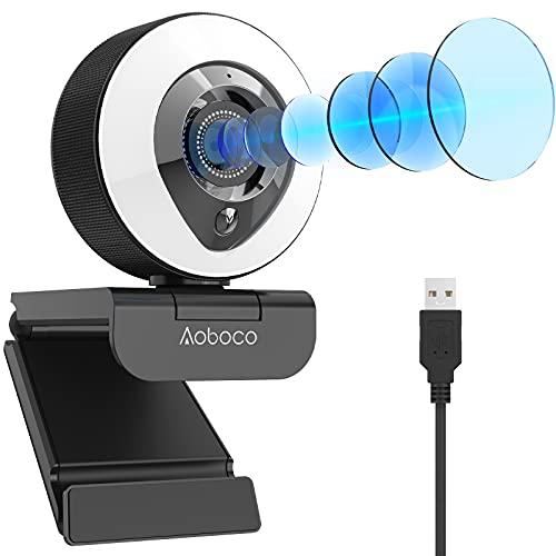 Aoboco webカメラ PCカメラ ウェブカメラ フルHD1080p 高画質 リングライト付き H.264 オートフォーカス マイク内蔵 美顔機能 背景変更 ビデオ通話 オンライン会議 使いやすさ windows mac 【令和2年最新版】パソコン用カメラ 1年安心保証