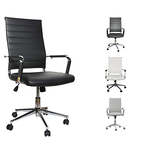 Office Chair Desk Computer Ribbed Modern - Adjustable Height Ergonomic Leather Tilt Arm Sleeves Lumbar Support High Back Executive Meeting Conference Chrome Wheel Caster 350lbs Big(Black)