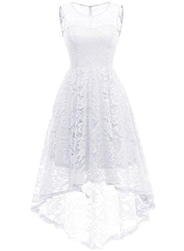 MuaDress 6006 Elegante Abendkleider Cocktailkleider Damenkleider Brautjungfernkleider aus Spitzen Knielange Rockabilly Ballkleid Rund Ausschnitt Weiß XS