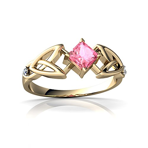 14kt White Gold Lab Pink Sapphire and Diamond 4mm Square Celtic Trinity Knot Ring - Size 6