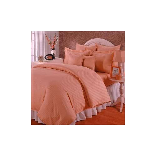 Trance Home Line 100% Cotton 210TC Satin Stripe Single Duvet Cover with 1 Pillow Cover (Peach)
