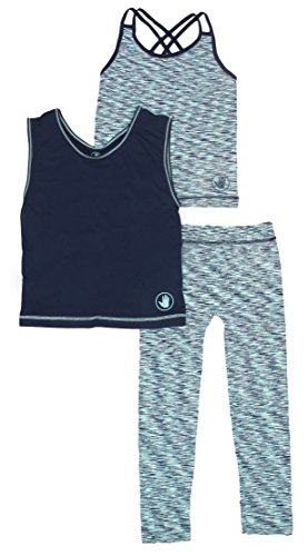 Body Glove Girls' 3-Piece Set Athletic Pants Tee Shirt and Strap Tank Top, Size 7/8, Navy and Turquoise