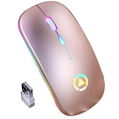 Queen.Y Mouse Ottico Wireless 2. 4Ghz Slim Cordless con USB Retroilluminato RGB Ricaricabile per Computer Pc Portatile