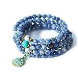 STYLE4-NATURE®   Mala Armband-Hals-Kette   Naturstein Sodalith   108 blaue Edelsteinperlen   Lotus Anhänger