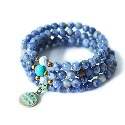 STYLE4-NATURE® | Mala Armband-Hals-Kette | Naturstein Sodalith | 108 blaue Edelsteinperlen | Lotus Anhänger