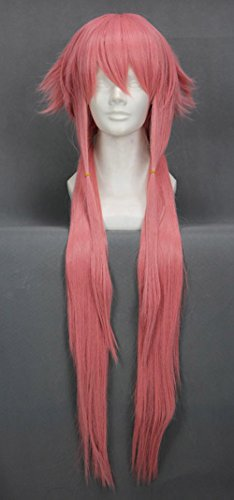 JapanAttitude Perruque Longue Rose 80cm, Cosplay The Future Diary Gasai Yuno