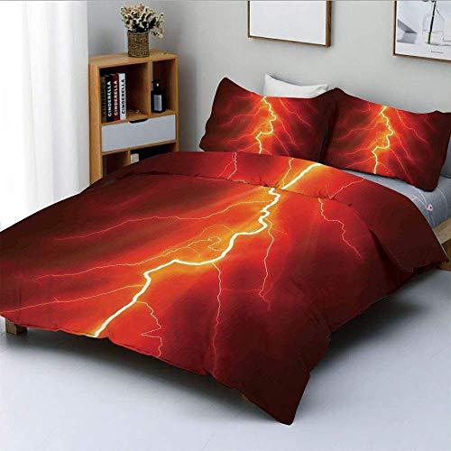 Qoqon Bettbezug-Set, Blitz gegabelt gegen Dark Sky Thunderstorm Intensive elektrische Strahlen ThemeDecorative 3-teilige Bettwäsche-Set mit 2 Kissen Sham, Gelb Rot, Kinder