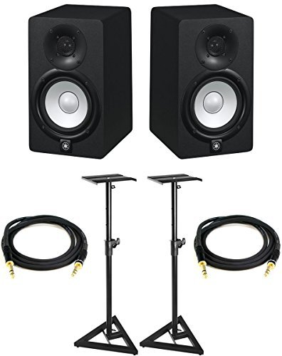 Best Review Of Yamaha HS8 Powered Studio Monitor Pair Bundle with Two Monitors, Stands, TRS Cables, ...